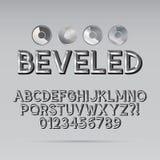 Fuente y dígito biselados de esquema del acero Foto de archivo