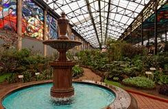 Fuente y jardines botánicos foto de archivo