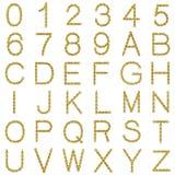 fuente y números de la cadena del oro 3d Fotografía de archivo