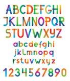 Fuente y números de vector colorida. Imagenes de archivo