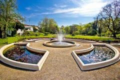 Fuente y parque en Zagreb foto de archivo libre de regalías