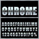 Fuente y símbolos del metal de Chrome para el diseño Imágenes de archivo libres de regalías