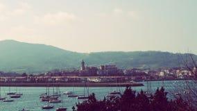 Fuenterrabia Hondarribia Spain touristic city view. Promenade beside Bidasoa river to sea views, spain France border city Stock Image