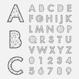 Fuentes alfabéticas y números Imagen de archivo libre de regalías