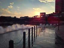 Fuentes de agua en el canal de Punggol Fotografía de archivo