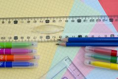 Fuentes de escuela Imagen de archivo libre de regalías