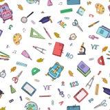 Fuentes de escuela Diseño hecho a mano inconsútil Stration colorido del illu del vector stock de ilustración