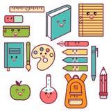 Fuentes de escuela felices lindas de Kawaii fijadas Imágenes de archivo libres de regalías