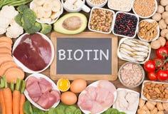 Fuentes de la comida de la biotina, visión superior foto de archivo