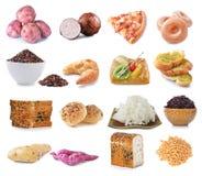 Fuentes de la comida de carbohidratos complejos, aisladas en blanco fotografía de archivo libre de regalías