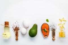 Fuentes de la comida de la selección de Omega 3 Comida estupenda alta Omega 3 y Imagen de archivo libre de regalías