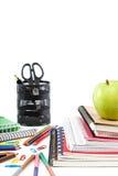 Fuentes de la escuela y de oficina De nuevo a escuela Fotos de archivo libres de regalías
