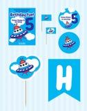 Fuentes de la fiesta de cumpleaños, sistema de la fiesta de cumpleaños, cumpleaños de la nave espacial libre illustration