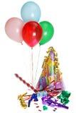 Fuentes de la fiesta de cumpleaños con los globos imagen de archivo libre de regalías