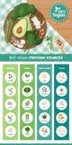 Fuentes de la proteína del vegano ilustración del vector