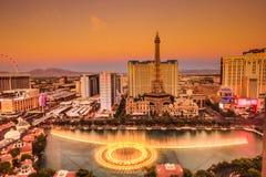 Fuentes de la tira y de Bellagio de Las Vegas Foto de archivo libre de regalías