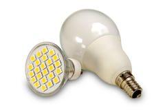 Fuentes de luz eficientes en blanco Imágenes de archivo libres de regalías