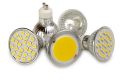 Fuentes de luz eficientes en blanco Foto de archivo libre de regalías