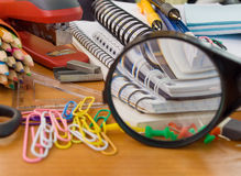 Fuentes de oficina de escuela Foto de archivo libre de regalías