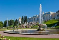 Fuentes de Petergof, St Petersburg, Rusia Imagen de archivo