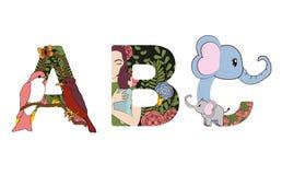 Fuentes decorativas de ABC stock de ilustración