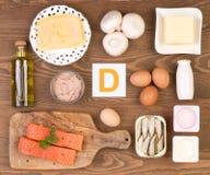 Fuentes del alimento de la vitamina D foto de archivo