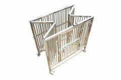 Fuentes del animal doméstico sobre la jaula inoxidable para el animal doméstico imagen de archivo