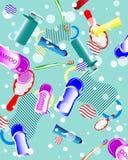 Fuentes del baño, ducha, cuidado del diente, cepillos, toalla stock de ilustración