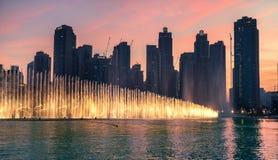 Fuentes del baile en Dubai, UAE Imágenes de archivo libres de regalías