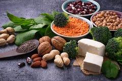 Fuentes del vegano de proteína fotos de archivo