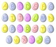 Fuentes en colores pastel del huevo de Pascua del alfabeto Imágenes de archivo libres de regalías