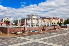 Fuentes en el centro de Kazán Foto de archivo