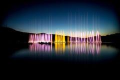 Fuentes en el lago Foto de archivo libre de regalías