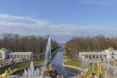Fuentes magníficas de la cascada de un parque más bajo del palacio de Peterhof El palacio de Peterhof incluido en la lista del pa imagenes de archivo