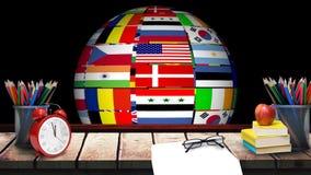 Fuentes multinacionales de giro del globo y de escuela almacen de video