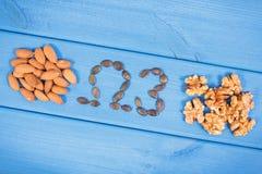 Fuentes naturales de Omega 3 ácidos, grasas no saturadas y fibra, concepto sano de la nutrición imagen de archivo