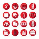 Fuentes planas determinadas del arte de los iconos Materiales blancos del arte del icono en un marco rojo redondo con la sombra b Fotografía de archivo