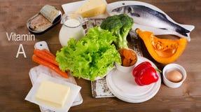 Fuentes sanas de la comida de vitamina A Fotografía de archivo libre de regalías