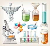 Fuentes usadas en farmacología para preparar la medicina. Fotografía de archivo libre de regalías