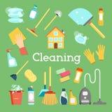 Fuentes y casa del hogar que limpian la colección plana de los iconos Gráficos de vector mínimos fijados Concepto de diseño plano Fotos de archivo libres de regalías