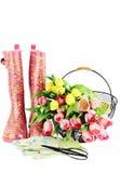 Fuentes y flores que cultivan un huerto Foto de archivo libre de regalías