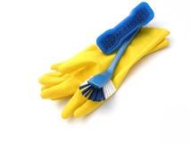 Fuentes y guantes de limpieza Imagen de archivo