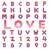 Fuentes y números del alfabeto para la tarjeta del día de San Valentín Fotografía de archivo