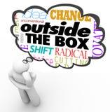 Fuera de la caja que piensa a Person Creativity Innovation Fotografía de archivo