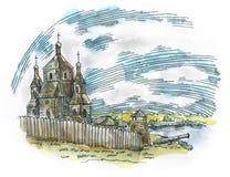 Fuerte antiguo stock de ilustración