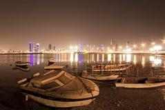 Fuerte de la pesca de Bahrein en la noche Fotos de archivo libres de regalías