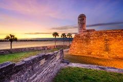 Fuerte del español de St Augustine, la Florida Imágenes de archivo libres de regalías