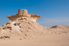 Fuerte en el desierto de Zekreet de Qatar, Oriente Medio Foto de archivo libre de regalías