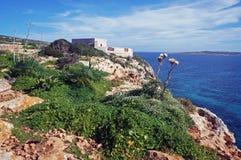 Fuerte viejo en la isla de Comino en Malta foto de archivo