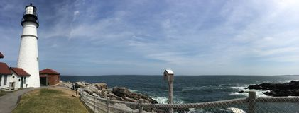 Fuerte Williams, Portland Maine Headlight-Panoramic View Foto de archivo